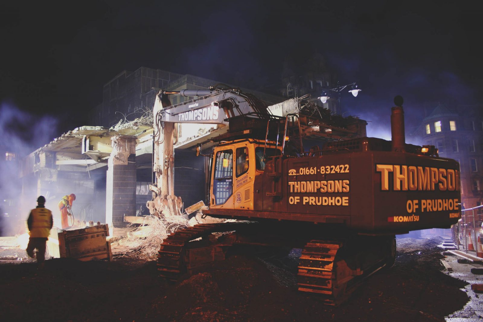 Thompsons Demolition Machinery working at Night